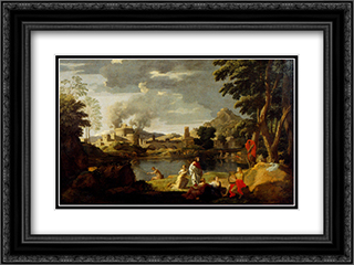 Landscape With Orpheus And Eurydice 24x18 Black or Gold Ornate Framed and Double Matted Art Print by Nicolas Poussin