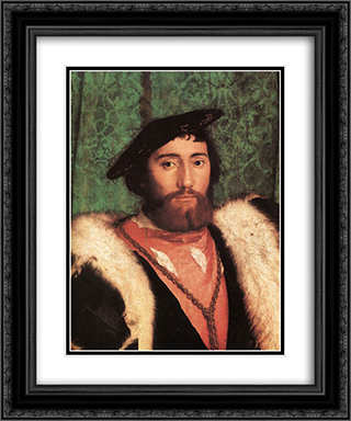 The Ambassadors [detail: 1] 20x24 Black or Gold Ornate Framed and Double Matted Art Print by Hans Holbein the Younger