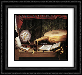 The Ambassadors [detail: 4] 22x20 Black or Gold Ornate Framed and Double Matted Art Print by Hans Holbein the Younger