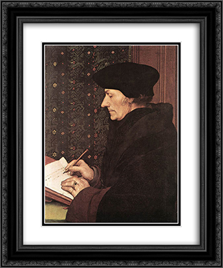 Erasmus 20x24 Black or Gold Ornate Framed and Double Matted Art Print by Hans Holbein the Younger