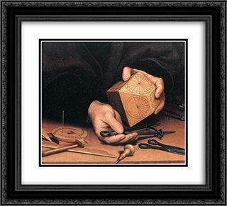 Portrait of Nikolaus Kratzer [detail: 1] 22x20 Black or Gold Ornate Framed and Double Matted Art Print by Hans Holbein the Younger