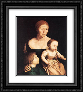 The Artist's Family 20x22 Black or Gold Ornate Framed and Double Matted Art Print by Hans Holbein the Younger