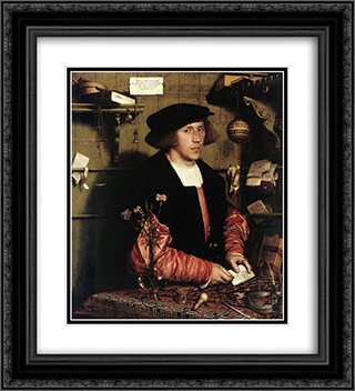Portrait of the Merchant Georg Gisze 20x22 Black or Gold Ornate Framed and Double Matted Art Print by Hans Holbein the Younger