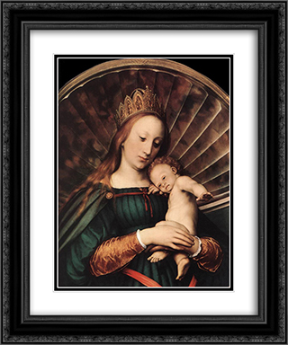 Darmstadt Madonna [detail: 1] 20x24 Black or Gold Ornate Framed and Double Matted Art Print by Hans Holbein the Younger