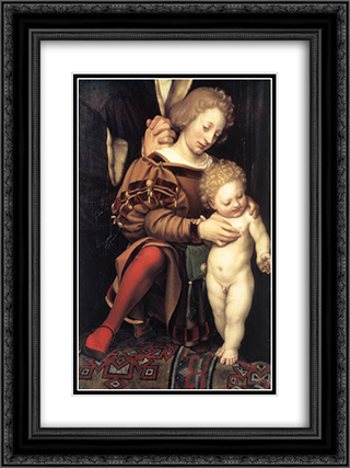 Darmstadt Madonna [detail: 2] 18x24 Black or Gold Ornate Framed and Double Matted Art Print by Hans Holbein the Younger