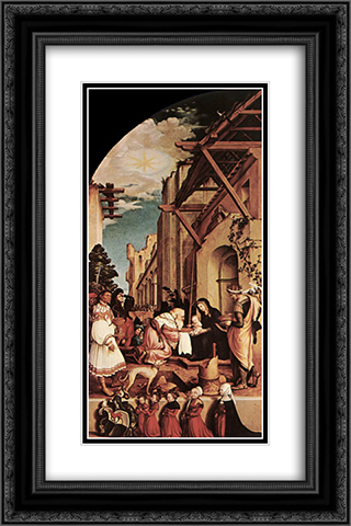 The Oberried Altarpiece (left wing) 16x24 Black or Gold Ornate Framed and Double Matted Art Print by Hans Holbein the Younger