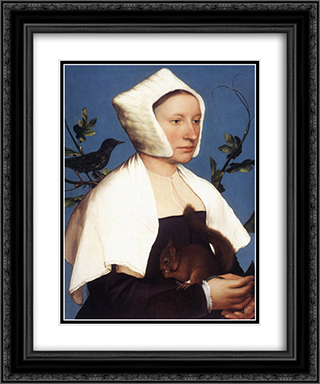 Portrait of a Lady with a Squirrel and a Starling 20x24 Black or Gold Ornate Framed and Double Matted Art Print by Hans Holbein the Younger
