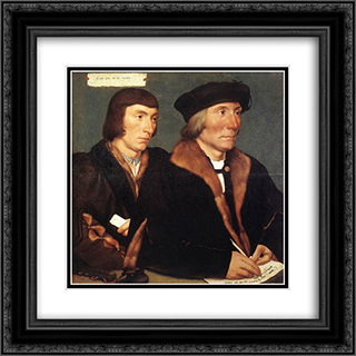 Double Portrait of Sir Thomas Godsalve and His Son John 20x20 Black or Gold Ornate Framed and Double Matted Art Print by Hans Holbein the Younger