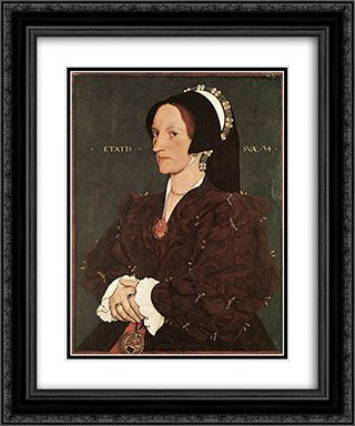 Portrait of Margaret Wyatt, Lady Lee 20x24 Black or Gold Ornate Framed and Double Matted Art Print by Hans Holbein the Younger
