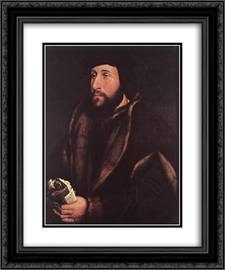 Portrait of a Man Holding Gloves and Letter 20x24 Black or Gold Ornate Framed and Double Matted Art Print by Hans Holbein the Younger