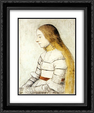 Portrait of Anna Meyer 20x24 Black or Gold Ornate Framed and Double Matted Art Print by Hans Holbein the Younger