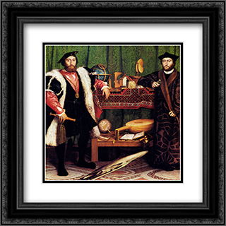 The French Ambassadors 20x20 Black or Gold Ornate Framed and Double Matted Art Print by Hans Holbein the Younger
