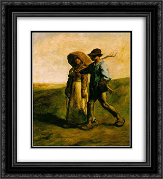 The Walk to Work 20x22 Black or Gold Ornate Framed and Double Matted Art Print by Jean Francois Millet