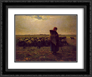 Shepherdess with her flock 24x20 Black or Gold Ornate Framed and Double Matted Art Print by Jean Francois Millet
