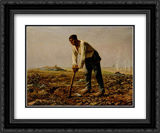 Man with a hoe 24x20 Black or Gold Ornate Framed and Double Matted Art Print by Jean Francois Millet