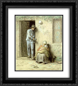 Le Nourrisson or L'enfant Malade 20x22 Black or Gold Ornate Framed and Double Matted Art Print by Jean Francois Millet