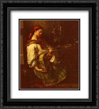 Couseuse Endormie 20x22 Black or Gold Ornate Framed and Double Matted Art Print by Jean Francois Millet