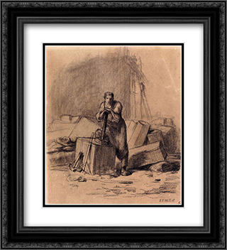 The Stone Cutter 20x22 Black or Gold Ornate Framed and Double Matted Art Print by Jean Francois Millet