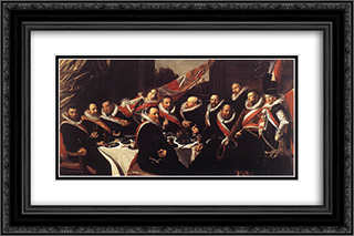 Banquet of the Officers of the St. George Civic Guard 24x16 Black or Gold Ornate Framed and Double Matted Art Print by Frans Hals