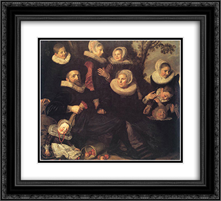 Family Portrait in a Landscape 22x20 Black or Gold Ornate Framed and Double Matted Art Print by Frans Hals
