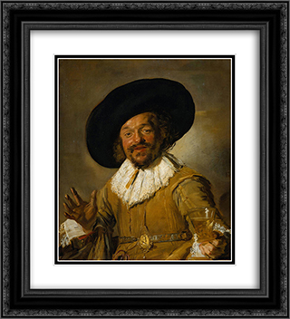 The Merry Drinker 20x22 Black or Gold Ornate Framed and Double Matted Art Print by Frans Hals