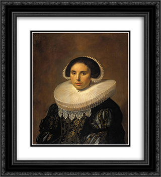 Portrait of a woman, possibly Sara Wolphaerts van Diemen 20x22 Black or Gold Ornate Framed and Double Matted Art Print by Frans Hals