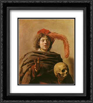 Boy with a Skull 20x22 Black or Gold Ornate Framed and Double Matted Art Print by Frans Hals