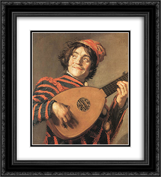 Buffoon Playing a Lute 20x22 Black or Gold Ornate Framed and Double Matted Art Print by Frans Hals