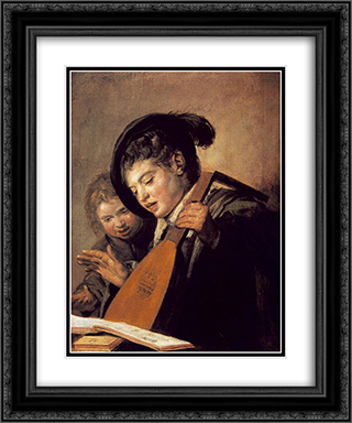 Two Boys Singing 20x24 Black or Gold Ornate Framed and Double Matted Art Print by Frans Hals