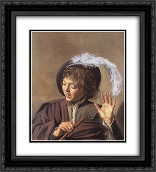 Singing Boy with a Flute 20x22 Black or Gold Ornate Framed and Double Matted Art Print by Frans Hals