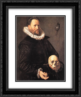 Portrait of a Man Holding a Skull 20x24 Black or Gold Ornate Framed and Double Matted Art Print by Frans Hals