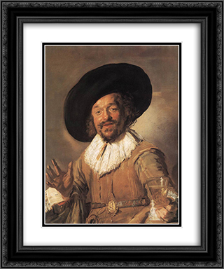 The Merry Drinker 20x24 Black or Gold Ornate Framed and Double Matted Art Print by Frans Hals