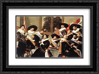 Banquet of the Officers of the St George Civic Guard Company 24x18 Black or Gold Ornate Framed and Double Matted Art Print by Frans Hals