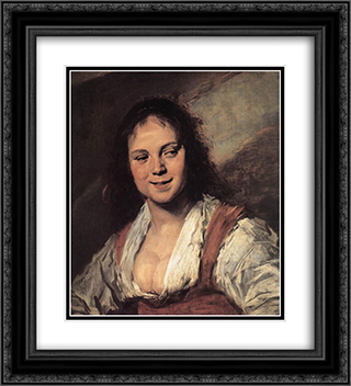 Gypsy Girl 20x22 Black or Gold Ornate Framed and Double Matted Art Print by Frans Hals