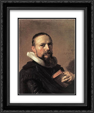 Samuel Ampzing 20x24 Black or Gold Ornate Framed and Double Matted Art Print by Frans Hals