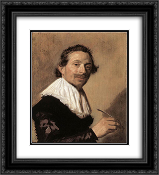 Jean de la Chambre 20x22 Black or Gold Ornate Framed and Double Matted Art Print by Frans Hals