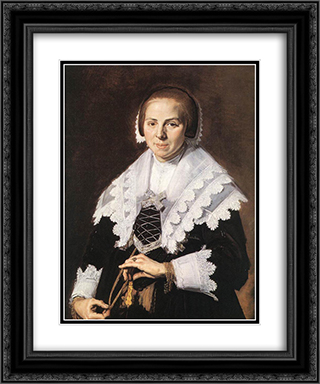 Portrait of a Woman Holding a Fan 20x24 Black or Gold Ornate Framed and Double Matted Art Print by Frans Hals