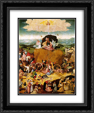 Haywain, central panel of the triptych 20x24 Black or Gold Ornate Framed and Double Matted Art Print by Hieronymus Bosch