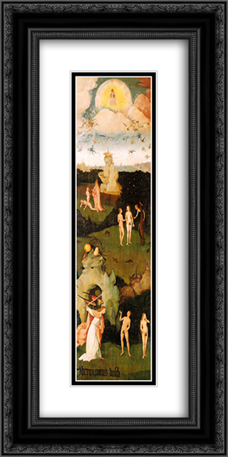 Haywain, left wing of the triptych 12x24 Black or Gold Ornate Framed and Double Matted Art Print by Hieronymus Bosch