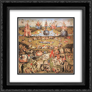 Garden of Earthly Delights, central panel of the triptych 20x20 Black or Gold Ornate Framed and Double Matted Art Print by Hieronymus Bosch