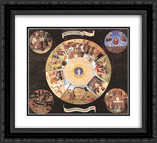 The Seven Deadly Sins 22x20 Black or Gold Ornate Framed and Double Matted Art Print by Hieronymus Bosch