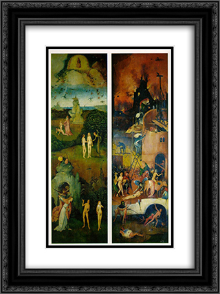 Paradise and Hell, left and right panels of a triptych 18x24 Black or Gold Ornate Framed and Double Matted Art Print by Hieronymus Bosch