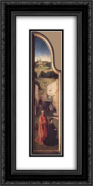 St. Peter with the Donor 12x24 Black or Gold Ornate Framed and Double Matted Art Print by Hieronymus Bosch