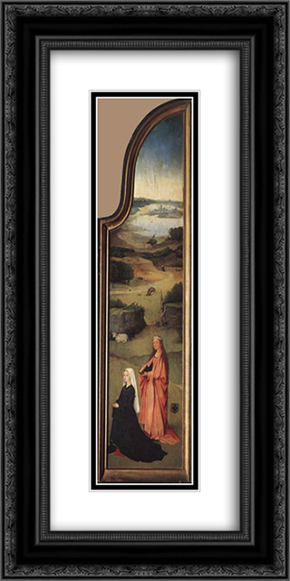 St. Agnes with the Donor 12x24 Black or Gold Ornate Framed and Double Matted Art Print by Hieronymus Bosch