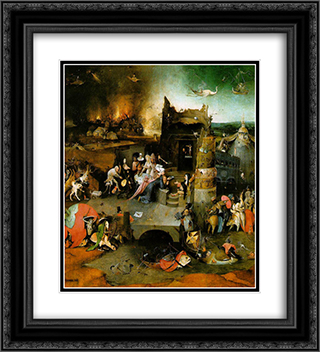 Temptation of St. Anthony, central panel of the triptych 20x22 Black or Gold Ornate Framed and Double Matted Art Print by Hieronymus Bosch