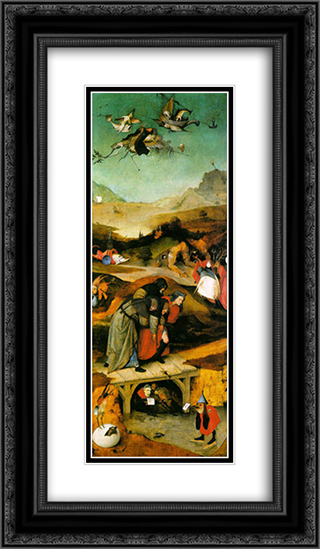 Temptation of St. Anthony, left wing of the triptych 14x24 Black or Gold Ornate Framed and Double Matted Art Print by Hieronymus Bosch