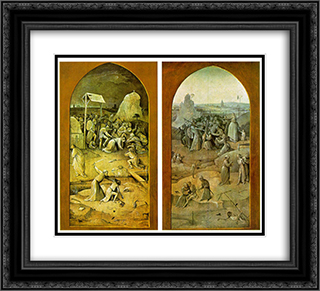 Temptation of St. Anthony, outer wings of the triptych 22x20 Black or Gold Ornate Framed and Double Matted Art Print by Hieronymus Bosch
