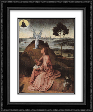 St. John on Patmos 20x24 Black or Gold Ornate Framed and Double Matted Art Print by Hieronymus Bosch
