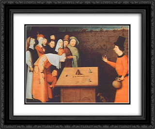 The Magician 24x20 Black or Gold Ornate Framed and Double Matted Art Print by Hieronymus Bosch
