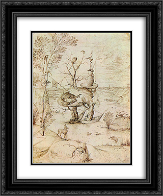 The Man'Tree 20x24 Black or Gold Ornate Framed and Double Matted Art Print by Hieronymus Bosch